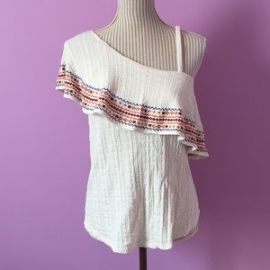 Lucky Brand Embroidered Ruffle Top